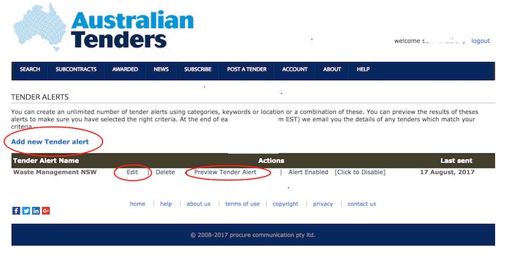 Add new Tender Alerts - Australian Tenders