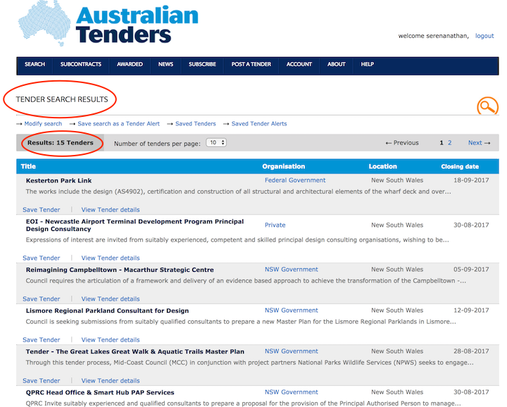 Perform a search preview for your tender alerts - Australian Tenders