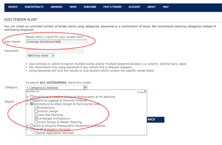 Alert name and category selection - Australian Tenders
