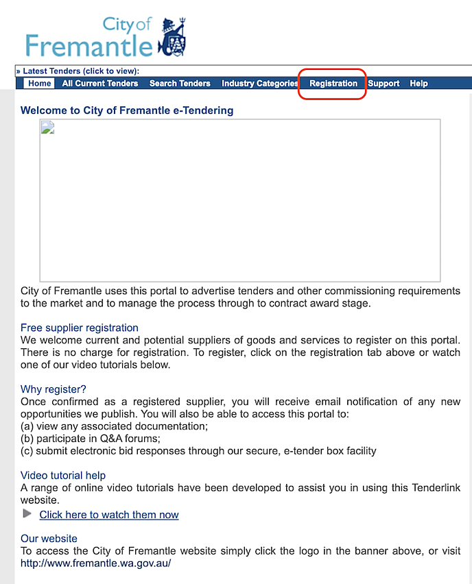 Tenderlink_CityOfFremantle_Portal_Registration_screenshot